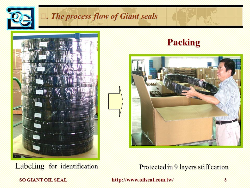 Packing Ⅲ. The process flow of Giant seals Labeling for identification