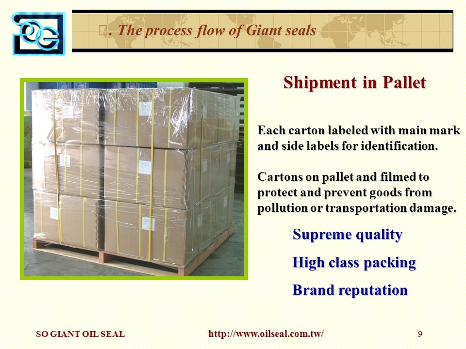 Shipment in Pallet Ⅲ. The process flow of Giant seals