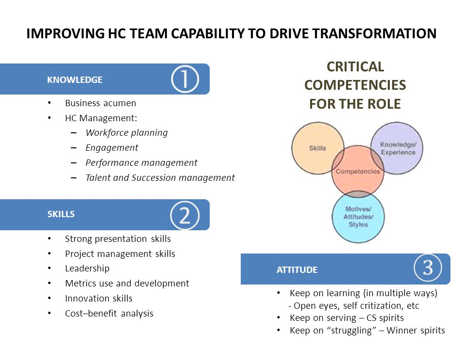 CRITICAL COMPETENCIES FOR THE ROLE