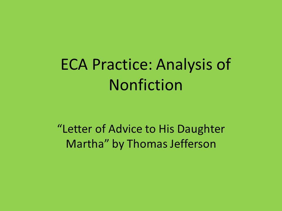 ECA Practice: Analysis of Nonfiction