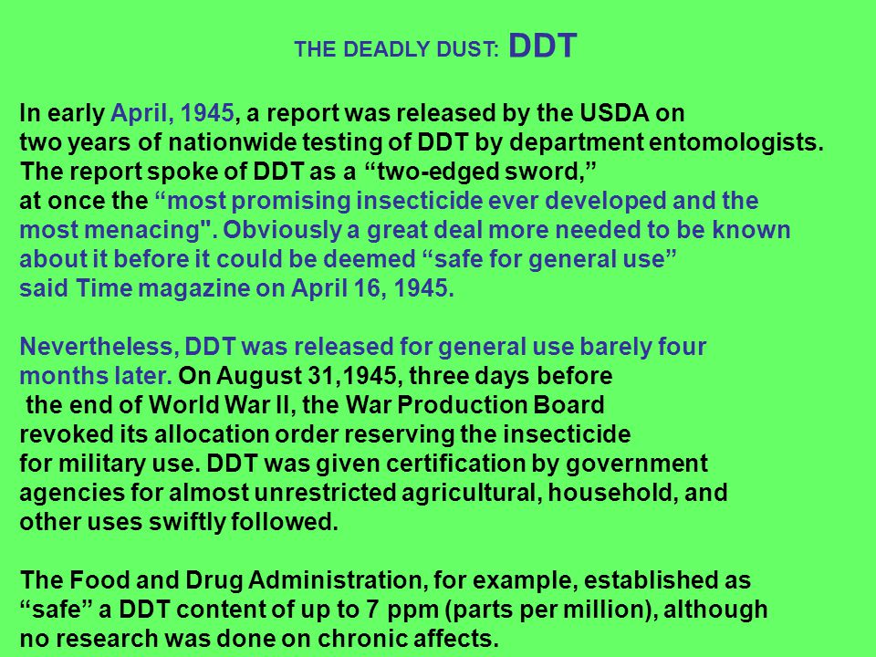 In early April, 1945, a report was released by the USDA on