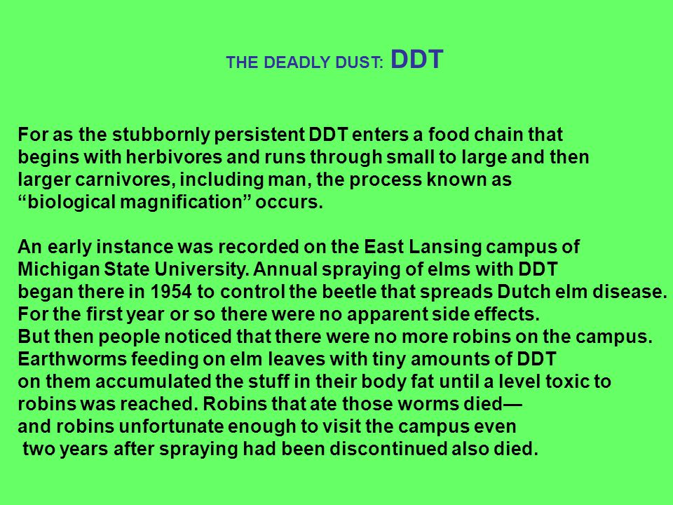 For as the stubbornly persistent DDT enters a food chain that