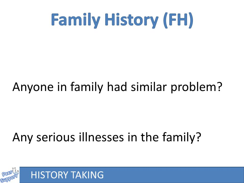 Family History (FH) Anyone in family had similar problem
