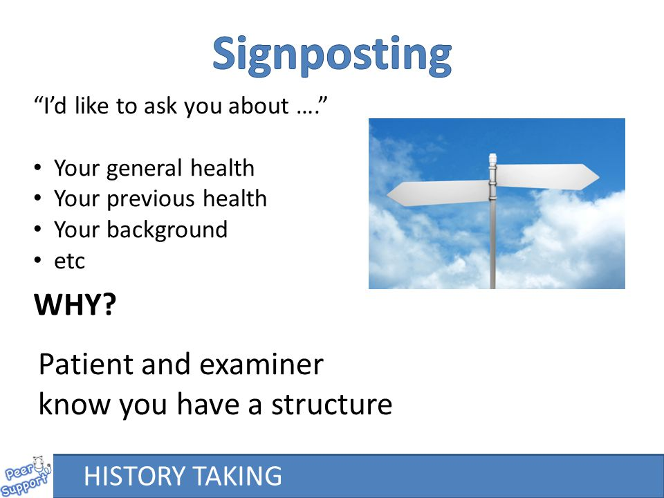 Signposting WHY Patient and examiner know you have a structure