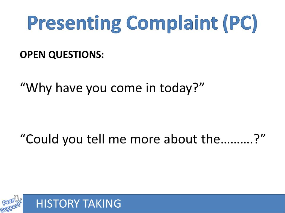 Presenting Complaint (PC)