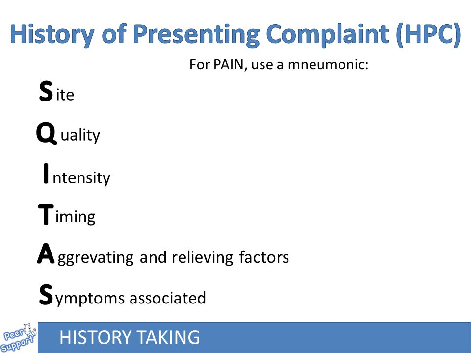 History of Presenting Complaint (HPC)