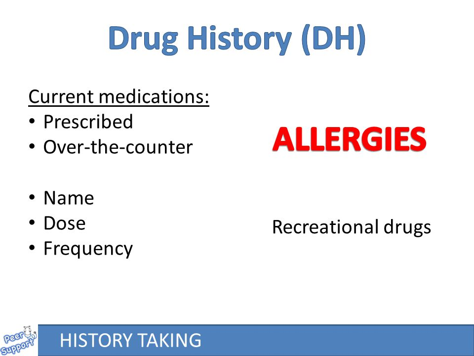 Drug History (DH) ALLERGIES