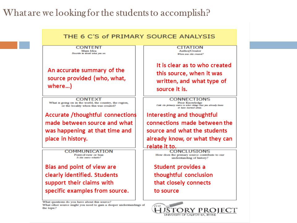 What are we looking for the students to accomplish
