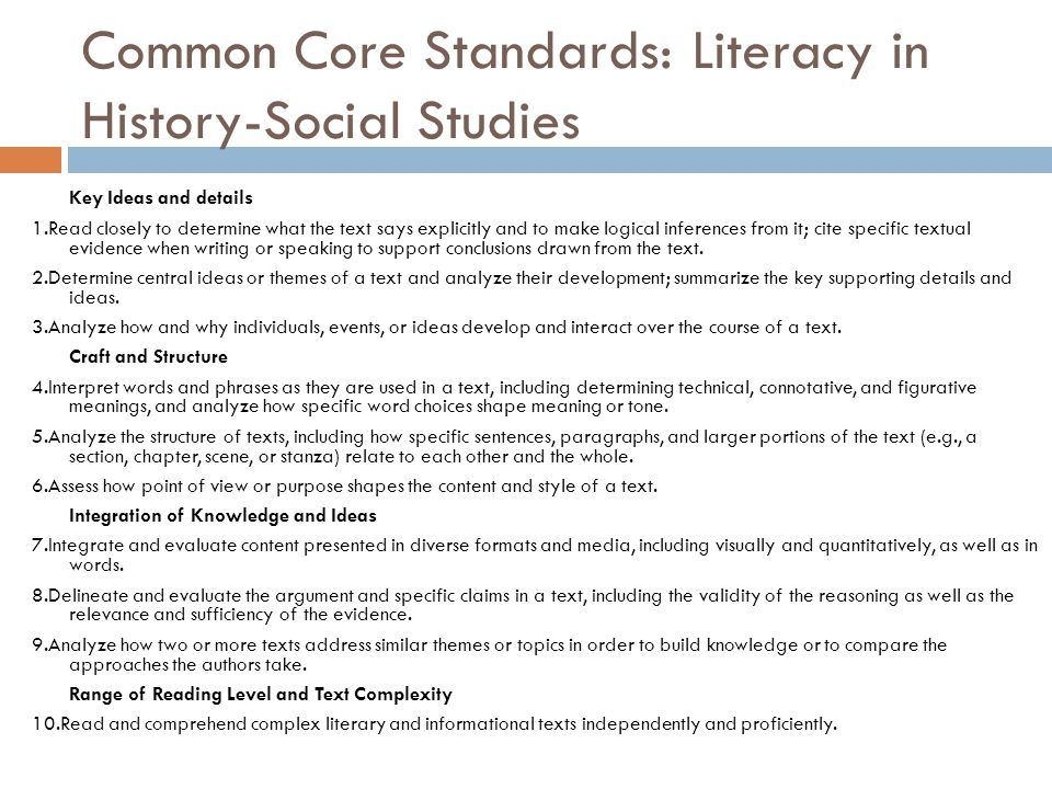 Common Core Standards: Literacy in History-Social Studies
