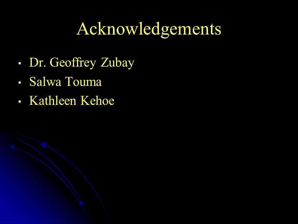 Acknowledgements Dr. Geoffrey Zubay Salwa Touma Kathleen Kehoe