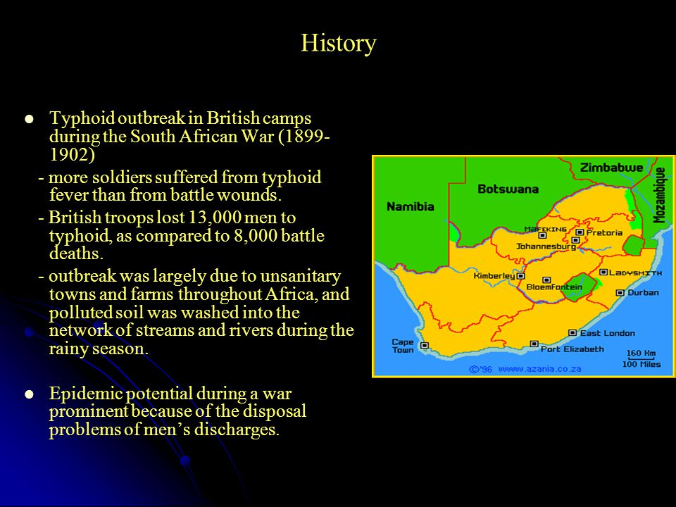 History Typhoid outbreak in British camps during the South African War (1899-1902)