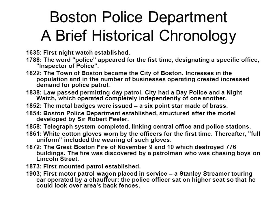 Boston Police Department A Brief Historical Chronology