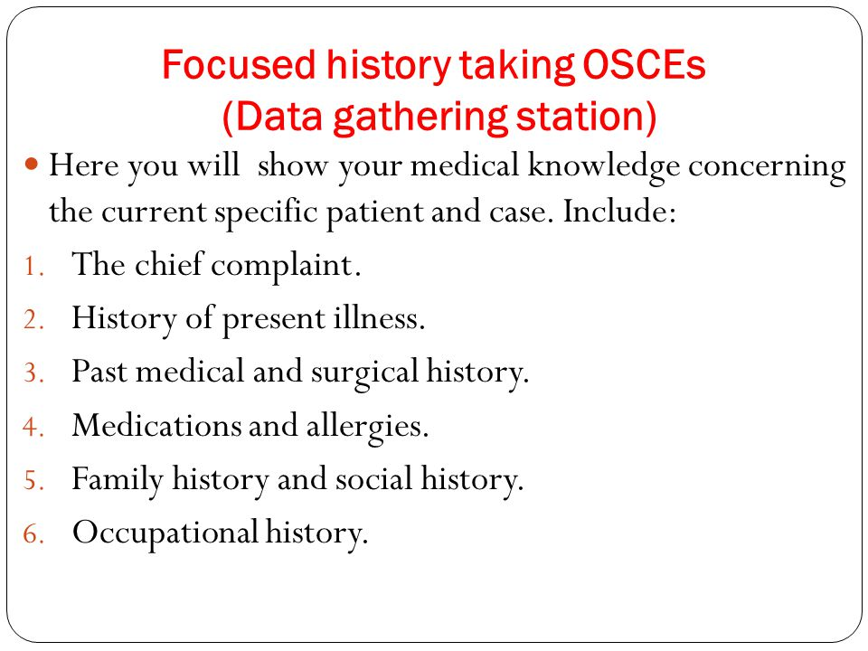 Focused history taking OSCEs (Data gathering station)