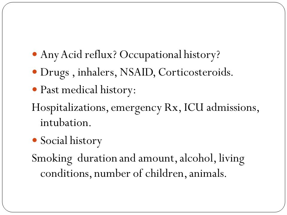 Any Acid reflux Occupational history