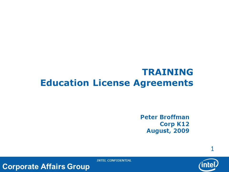 TRAINING Education License Agreements
