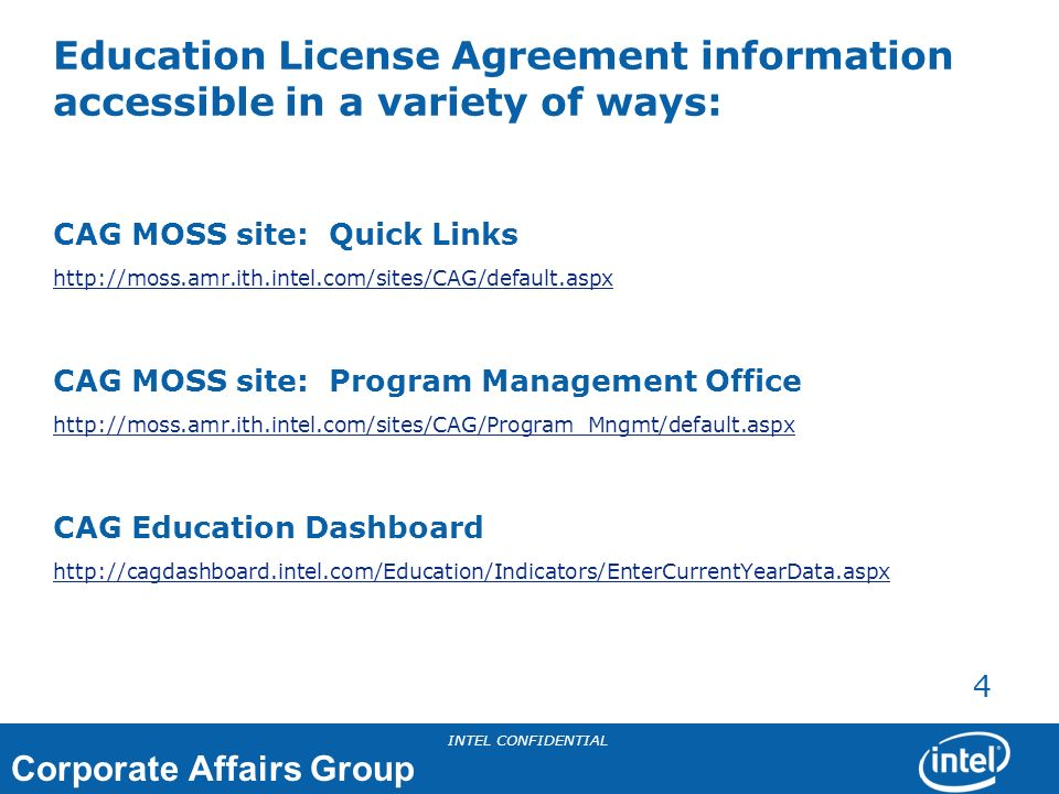 Education License Agreement information accessible in a variety of ways: