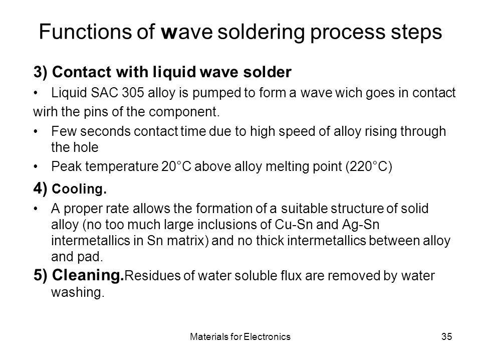 Functions of wave soldering process steps
