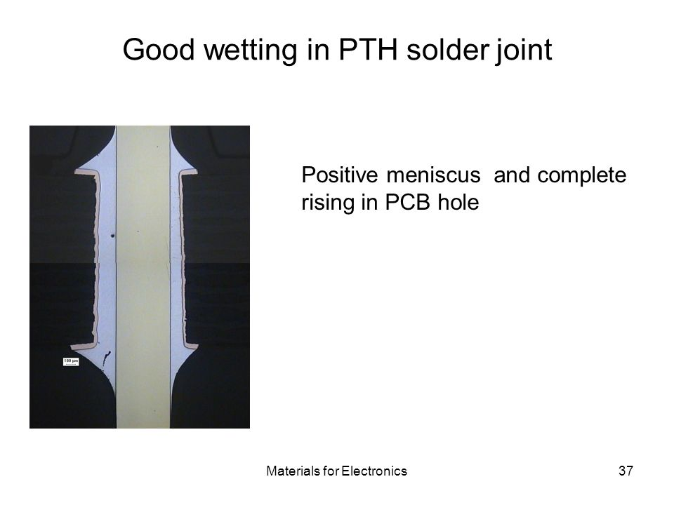 Good wetting in PTH solder joint