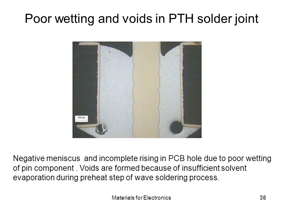 Poor wetting and voids in PTH solder joint