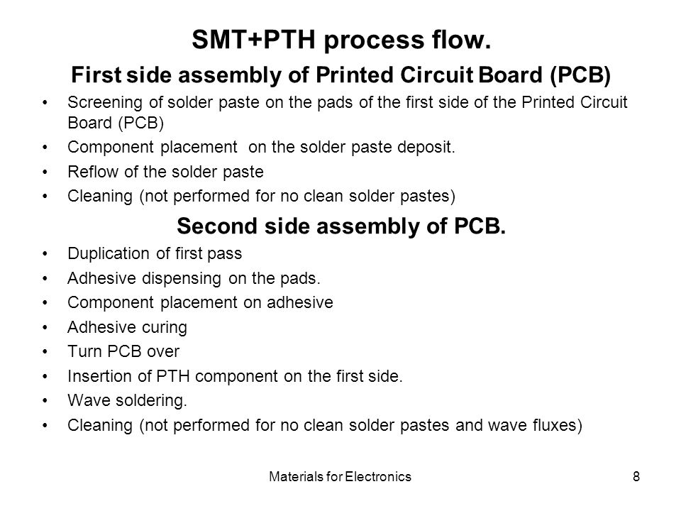 SMT+PTH process flow. First side assembly of Printed Circuit Board (PCB)