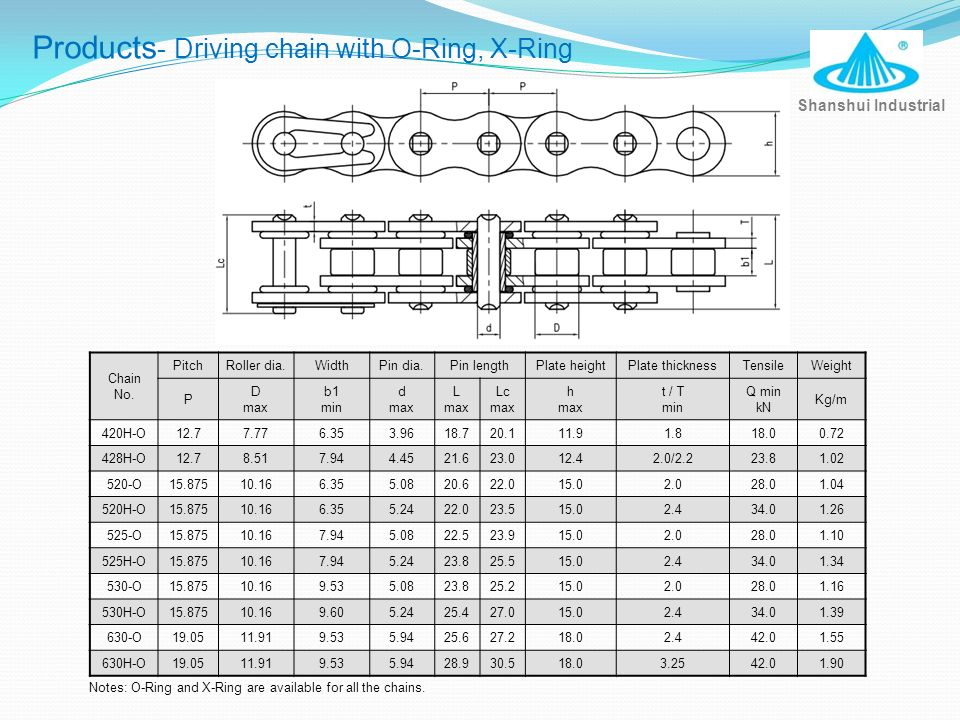 Products- Driving chain with O-Ring, X-Ring