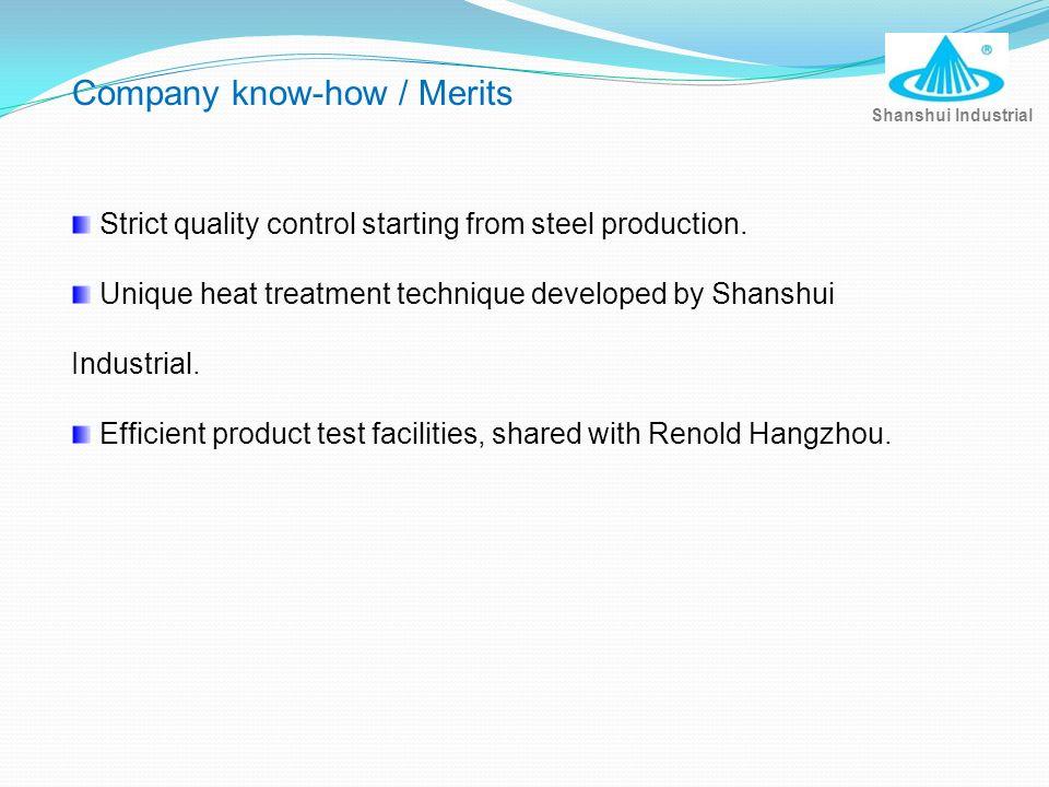 Company know-how / Merits