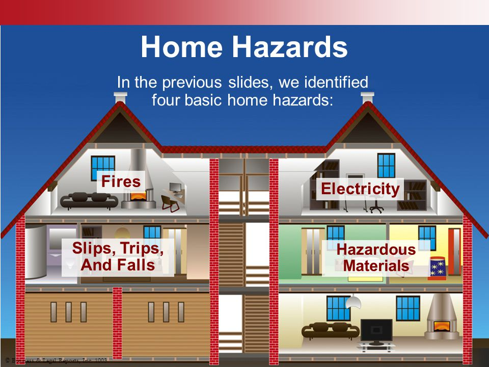 In the previous slides, we identified four basic home hazards:
