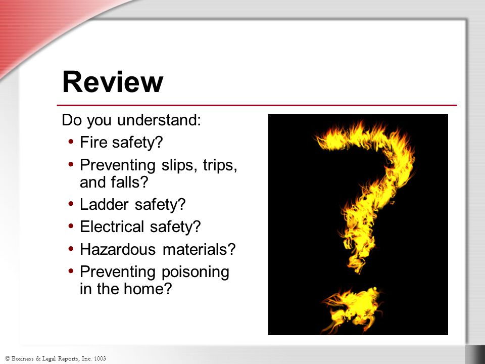 Review Do you understand: Fire safety