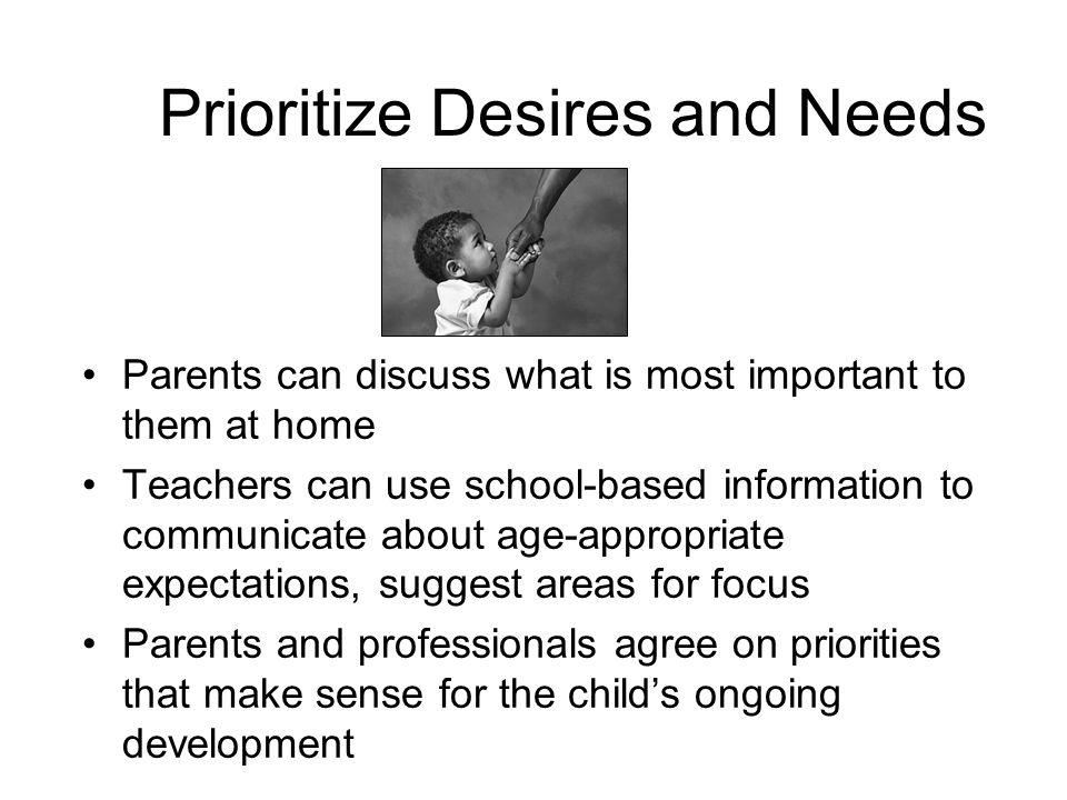 Prioritize Desires and Needs