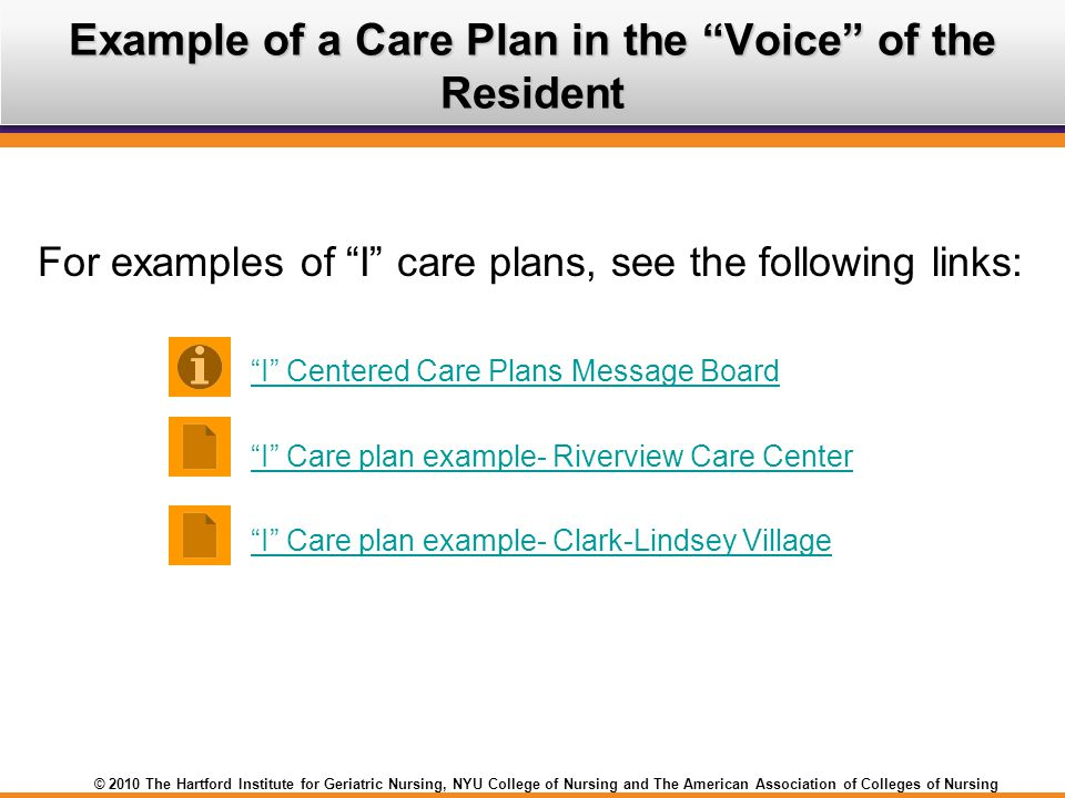 Example of a Care Plan in the Voice of the Resident