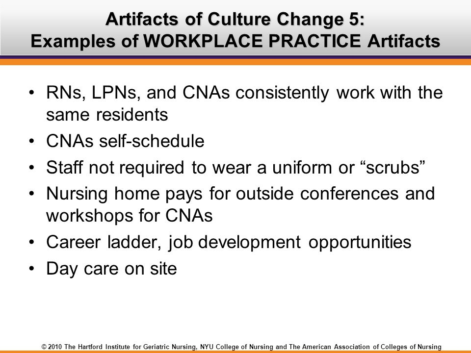 Artifacts of Culture Change 5: Examples of WORKPLACE PRACTICE Artifacts