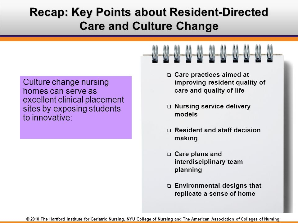 Recap: Key Points about Resident-Directed Care and Culture Change