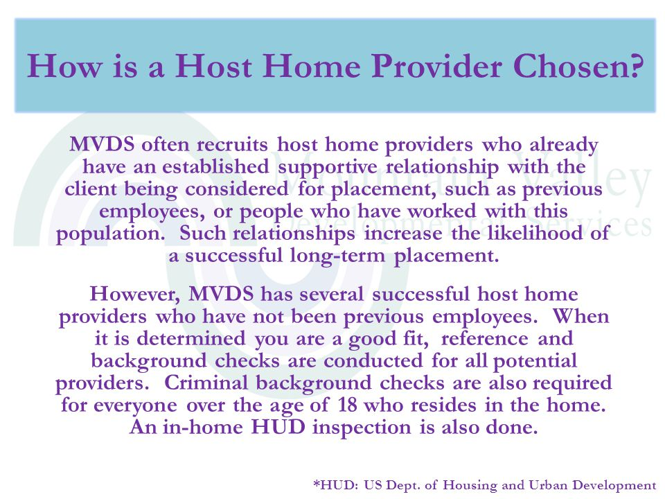 How is a Host Home Provider Chosen