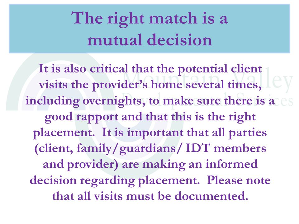 The right match is a mutual decision