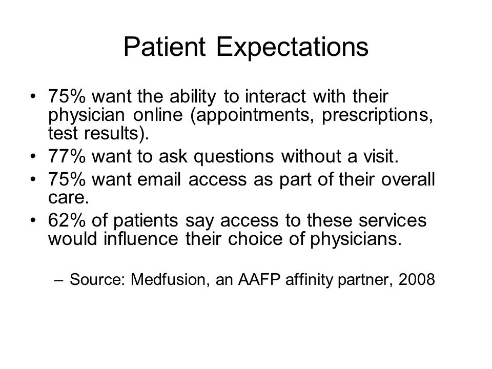 Patient Expectations 75% want the ability to interact with their physician online (appointments, prescriptions, test results).
