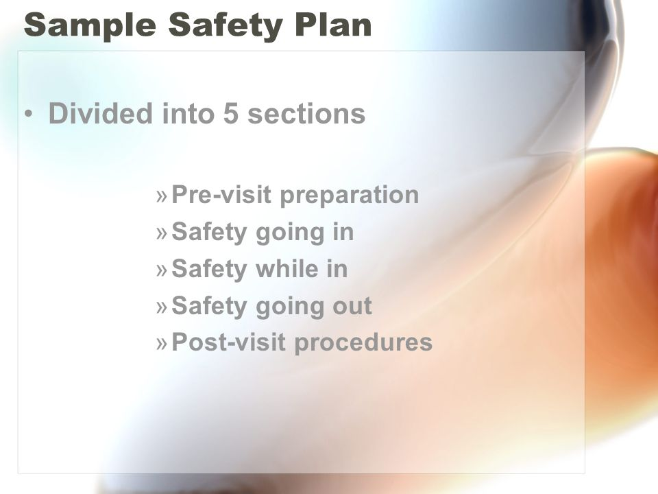 Sample Safety Plan Divided into 5 sections Pre-visit preparation