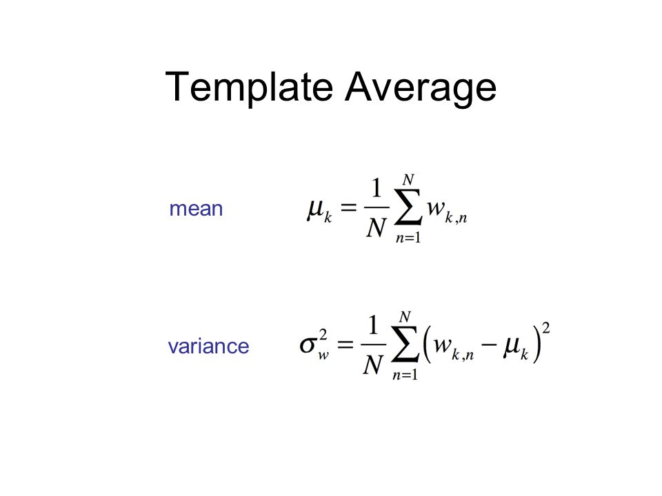 Template Average mean variance Cybergenetics © 2003-2010