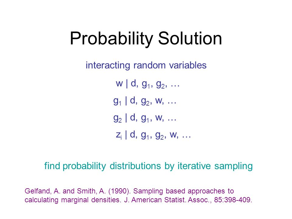 Probability Solution interacting random variables w | d, g1, g2, …