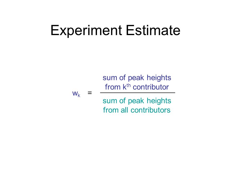 Experiment Estimate sum of peak heights from kth contributor wk =