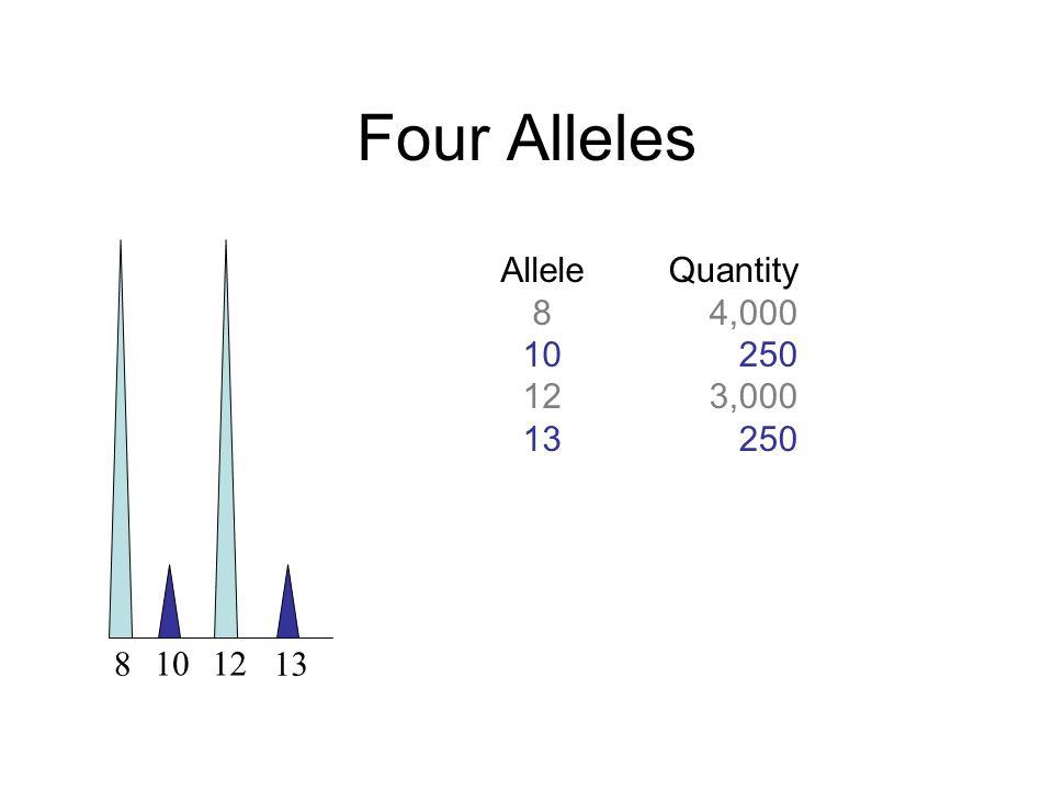 Four Alleles Allele 8 10 12 13 Quantity 4,000 250 3,000 8 10 12 13