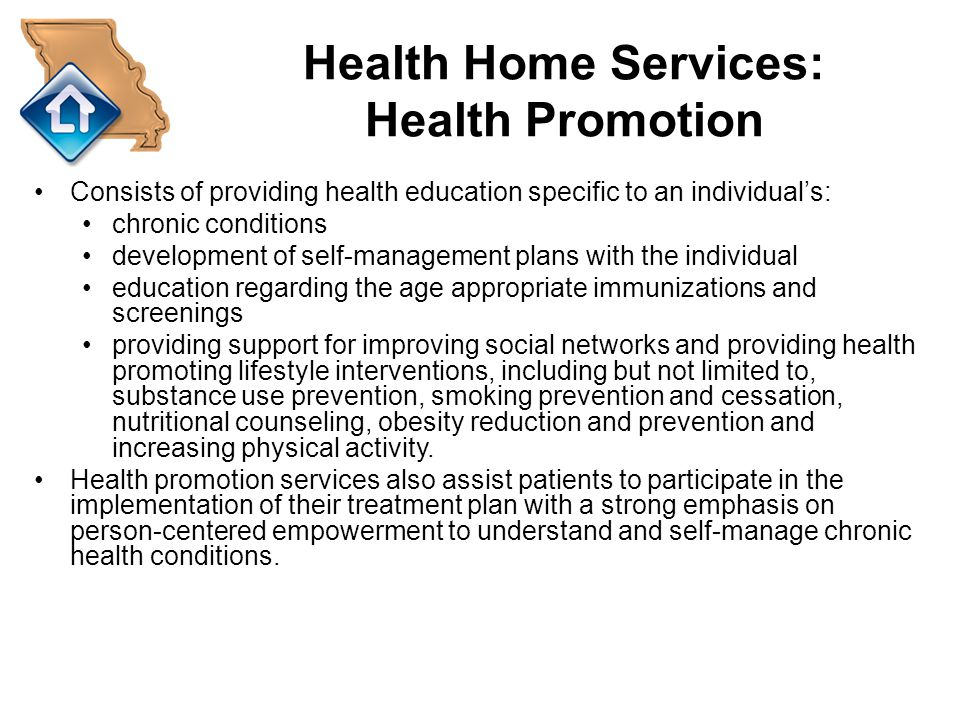 Health Home Services: Health Promotion