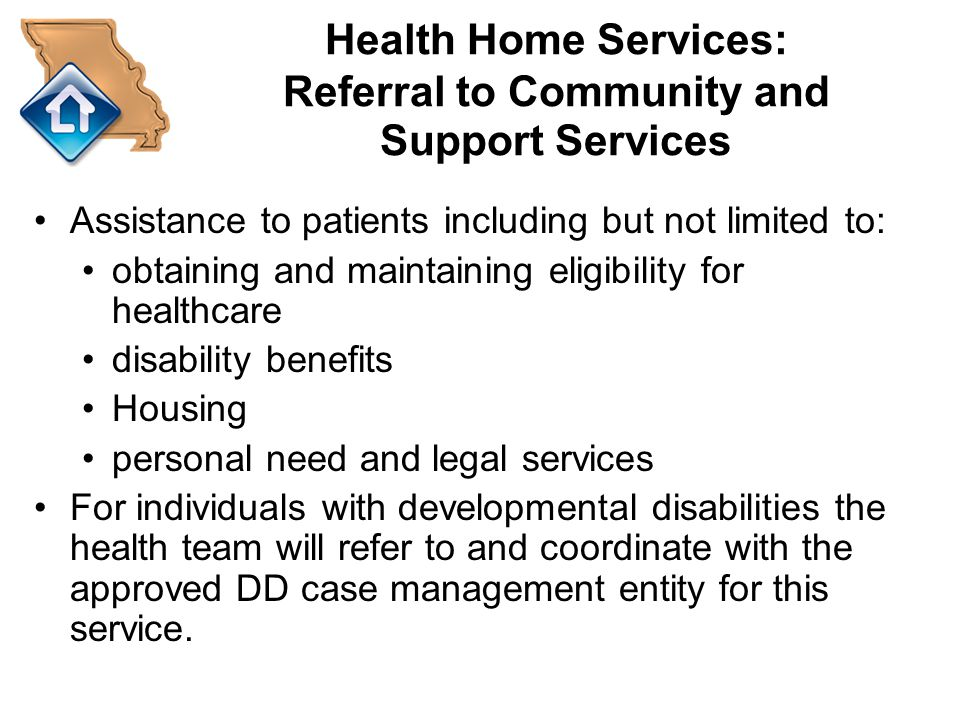 Health Home Services: Referral to Community and Support Services