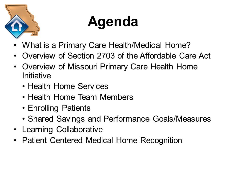 Agenda What is a Primary Care Health/Medical Home