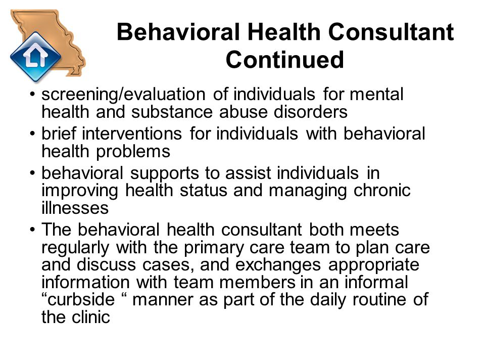 Behavioral Health Consultant Continued