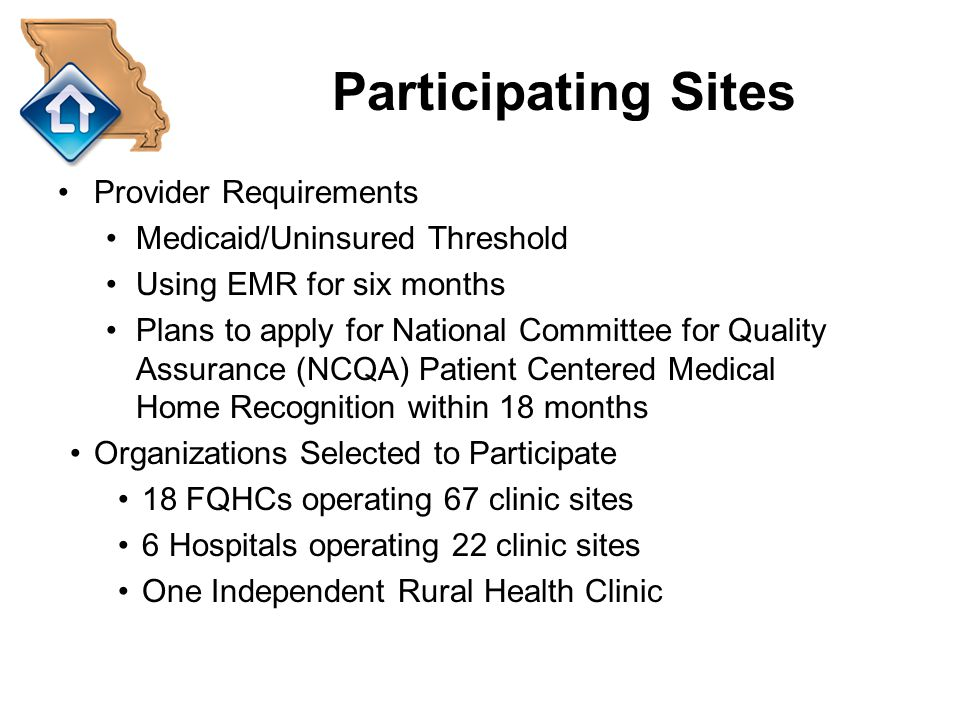 Participating Sites Provider Requirements Medicaid/Uninsured Threshold