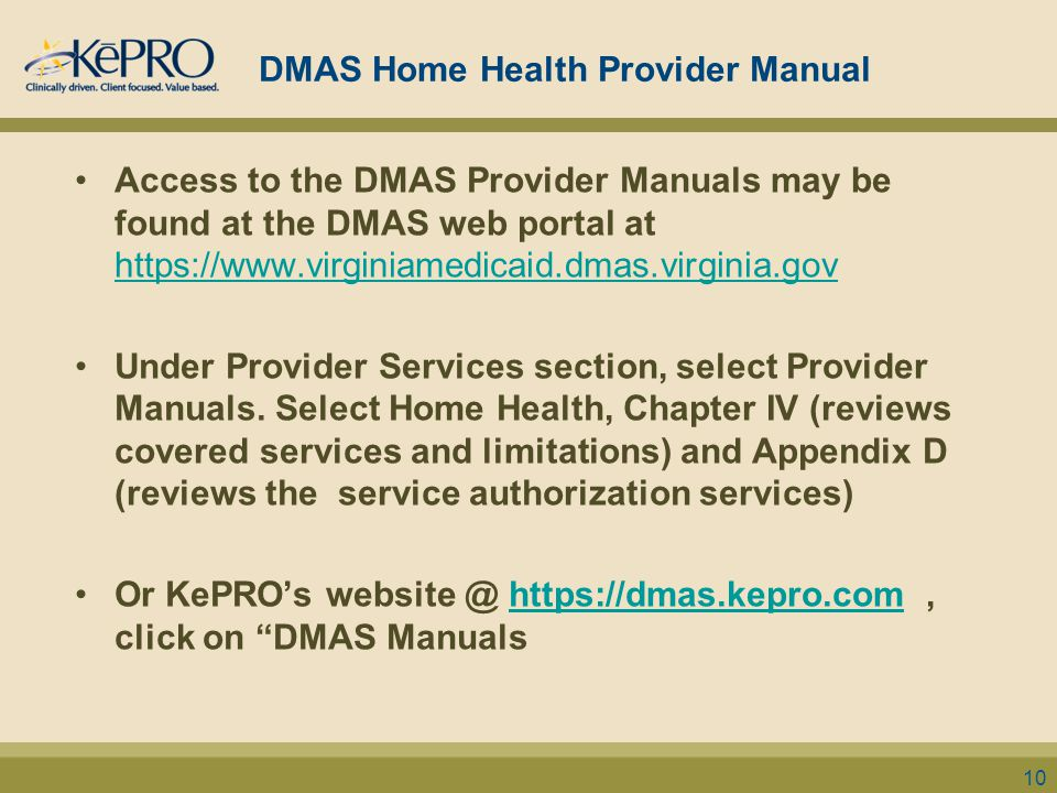 DMAS Home Health Provider Manual