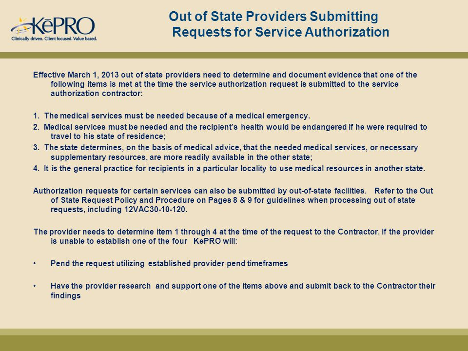 Out of State Providers Submitting Requests for Service Authorization