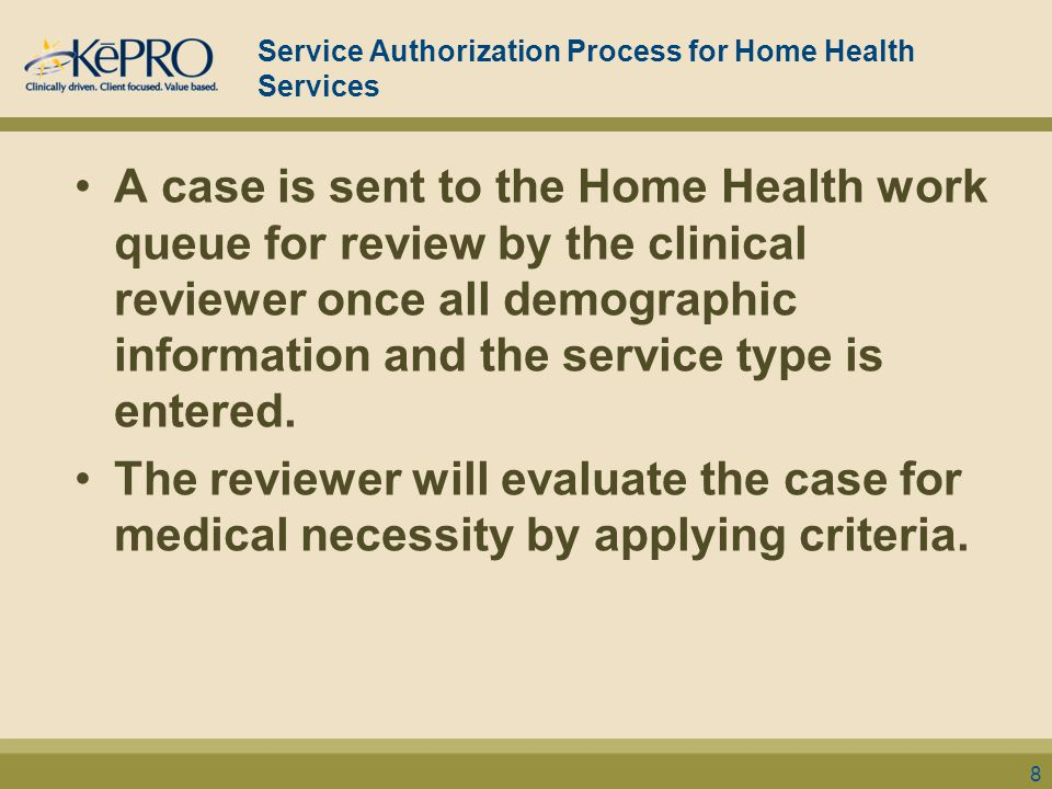 Service Authorization Process for Home Health Services