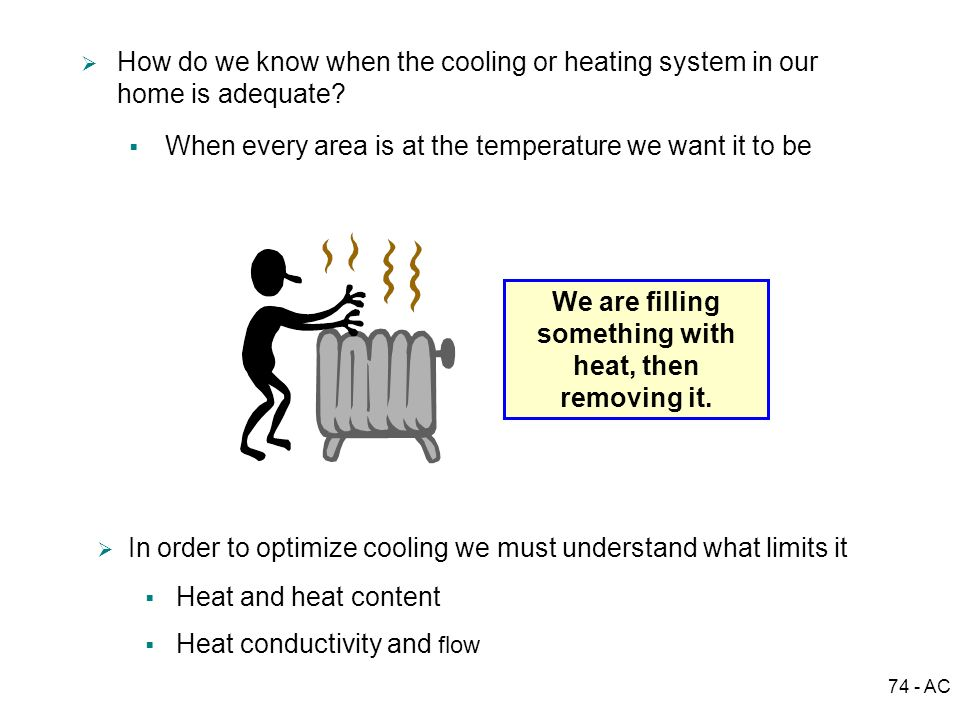 We are filling something with heat, then removing it.