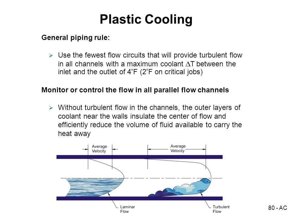 Plastic Cooling General piping rule:
